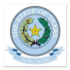 "Texas Seal Square Car Magnet 3"" x 3"""