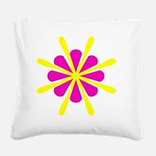 Pink Yellow Crest Designer Square Canvas Pillow