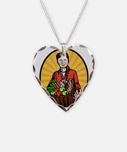 female organic farmer crop ha Necklace