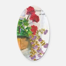 Flowerbox Oval Car Magnet