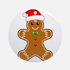 Gingerbread Man With Santa Hat Ornament (Round)