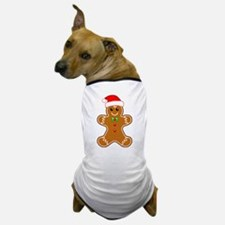 Gingerbread Man with Santa Hat Dog T-Shirt