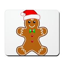 Gingerbread Man with Santa Hat Mousepad