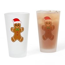 Gingerbread Man with Santa Hat Drinking Glass