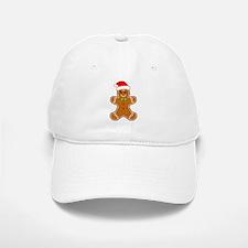 Gingerbread Man with Santa Hat Baseball Cap