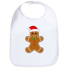 Gingerbread Man with Santa Hat Bib