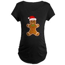 Gingerbread Man with Santa Hat Maternity T-Shirt