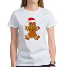 Gingerbread Man with Santa Hat T-Shirt