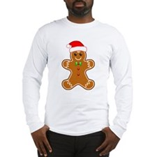 Gingerbread Man with Santa Hat Long Sleeve T-Shirt