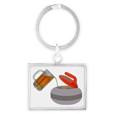Fueled by beer cartoon rock PNG Landscape Keychain