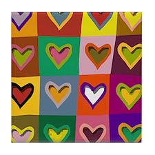 Pop Art Multi Colored Hearts Tile Coaster