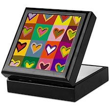 Pop Art Multi Colored Hearts Keepsake Box