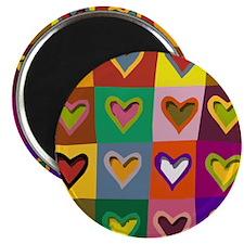 Pop Art Multi Colored Hearts Magnet