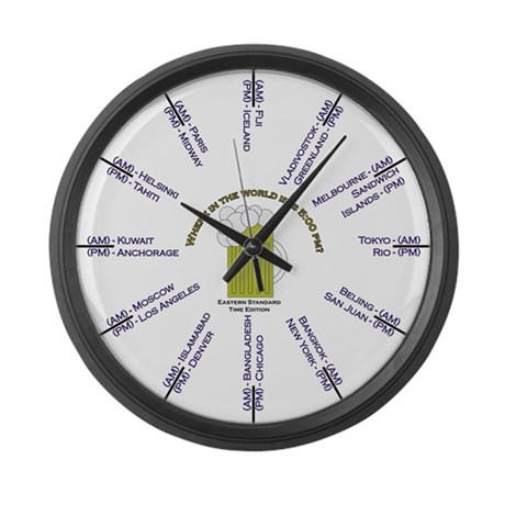 Where is it 5:00pm? EST edition Large Wall Clock