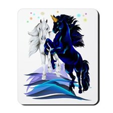 Two Unicorns and Waves Trans Mousepad