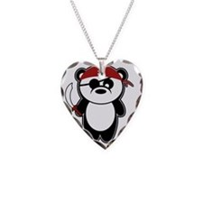 Pirate Panda Necklace Heart Charm