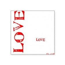 "Love words black white Square Sticker 3"" x 3"""