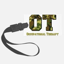 camo letters green Luggage Tag