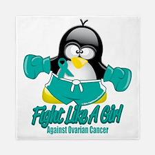 Ovarian-Cancer-Fighting-Penguin Queen Duvet