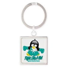 Ovarian-Cancer-Fighting-Penguin Square Keychain