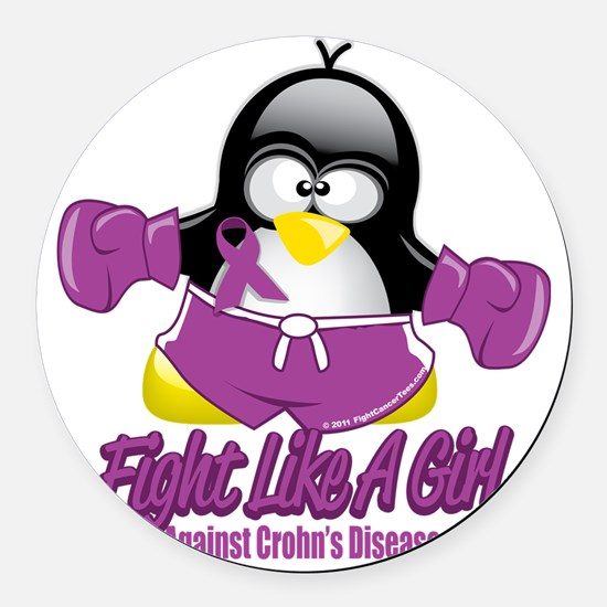 Crohns-Disease-Fighting-Penguin Round Car Magnet