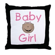 African American Baby Girl Throw Pillow