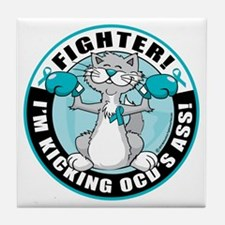 OCD-Fighter-Cat Tile Coaster