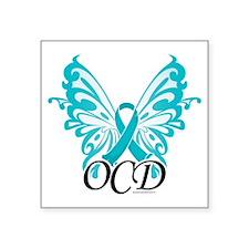"OCD-Butterfly-Ribbon Square Sticker 3"" x 3"""