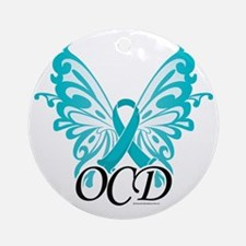 OCD-Butterfly-Ribbon Round Ornament