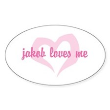 """jakob loves me"" Oval Decal"