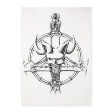 pentagram/horned skull 5'x7'Area Rug