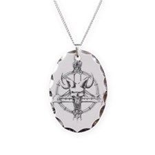 pentagram/horned skull Necklace Oval Charm