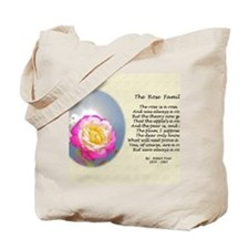 Robert Frost Poetry Poster, The Rose Fami Tote Bag