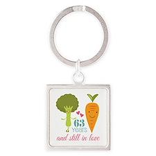 63 Year Anniversary Veggie Couple Square Keychain