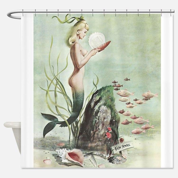 Retro Pin Up 1950s Mermaid with School of Fish Sho