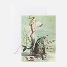 Retro Pin Up 1950s Mermaid with School of Fish Gre