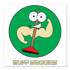 "Buff Brooms Square Car Magnet 3"" x 3"""