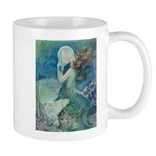 Art Deco Art Nouveau Mermaid With Pearl Pin Up Small Mugs