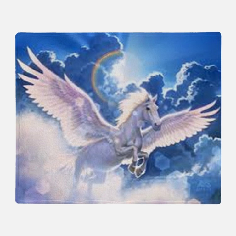 pegasus flying high Throw Blanket