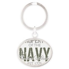 PropertyoftheUSNavyGreen Oval Keychain