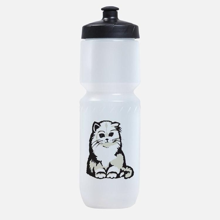 cute white persian kitten.png Sports Bottle