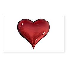 3d Heart Rectangle Decal