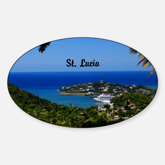 St Lucia 5.5x3.5 Sticker (Oval)