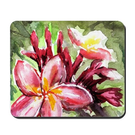 Pink Tropical Flowers Mousepad