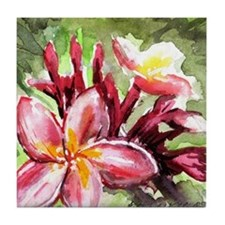 Pink Tropical Flowers Tile Coaster