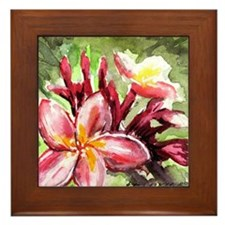 Pink Tropical Flowers Framed Tile