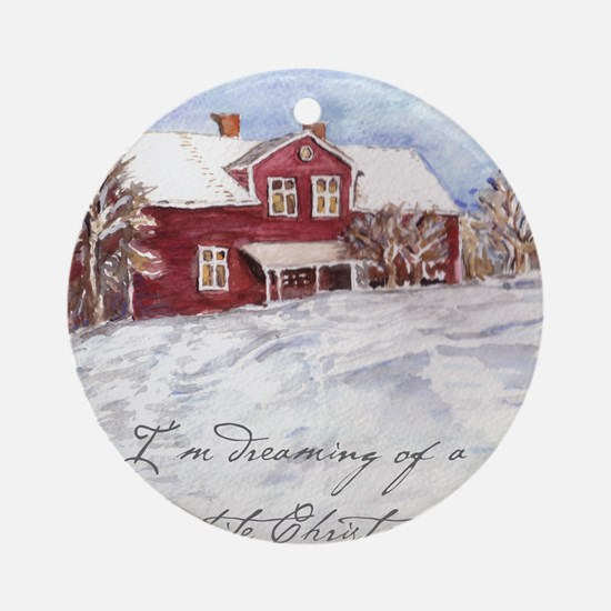 Red House Round Ornament
