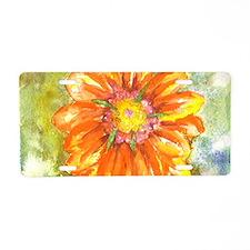 Orange Daisy Aluminum License Plate