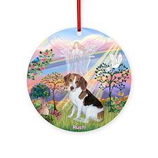 2-TILE-CloudAngel2-BeagleRusti Round Ornament