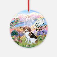 3-TILE-CloudAngel2-BeagleRusti Round Ornament